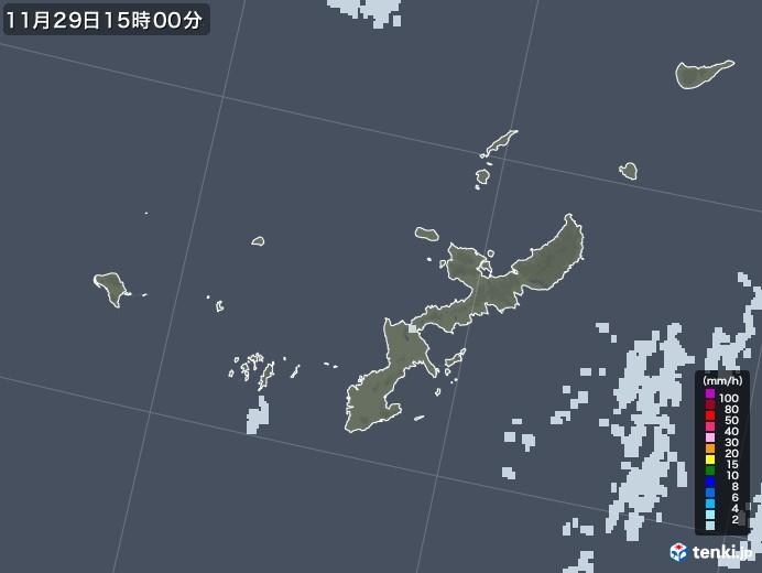 沖縄県の雨雲レーダー(2020年11月29日)