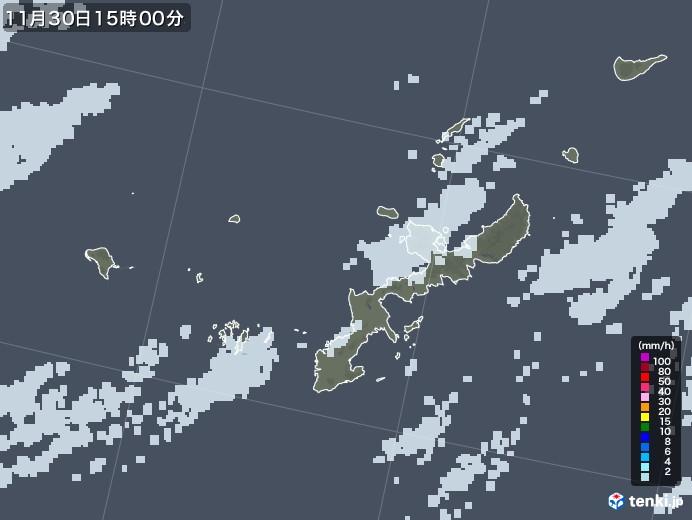 沖縄県の雨雲レーダー(2020年11月30日)