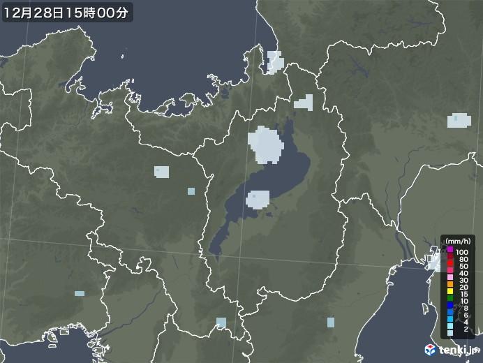 滋賀県の雨雲レーダー(2020年12月28日)