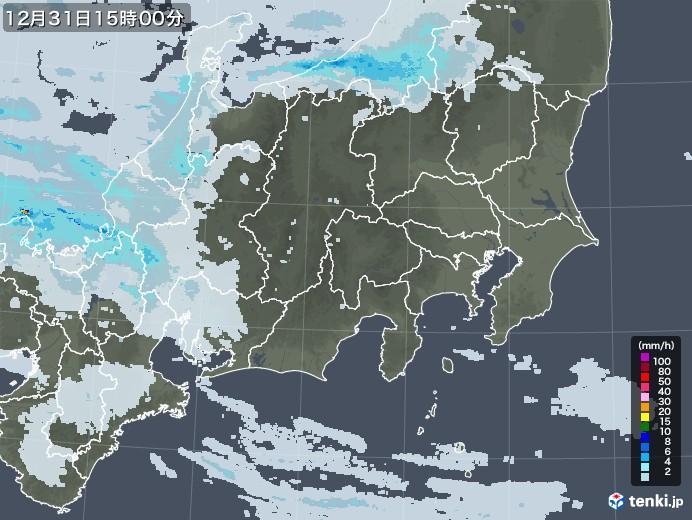 関東・甲信地方の雨雲レーダー(2020年12月31日)