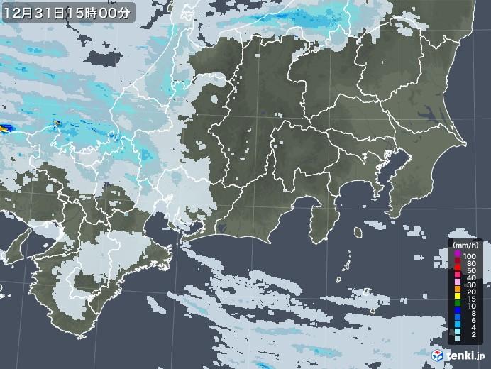 東海地方の雨雲レーダー(2020年12月31日)