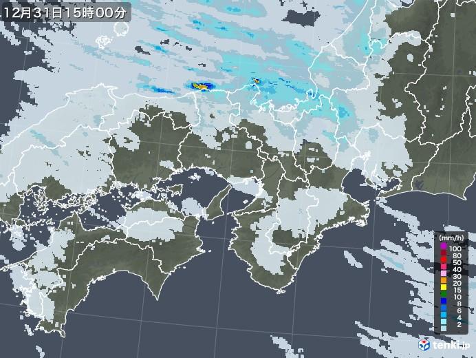 近畿地方の雨雲レーダー(2020年12月31日)