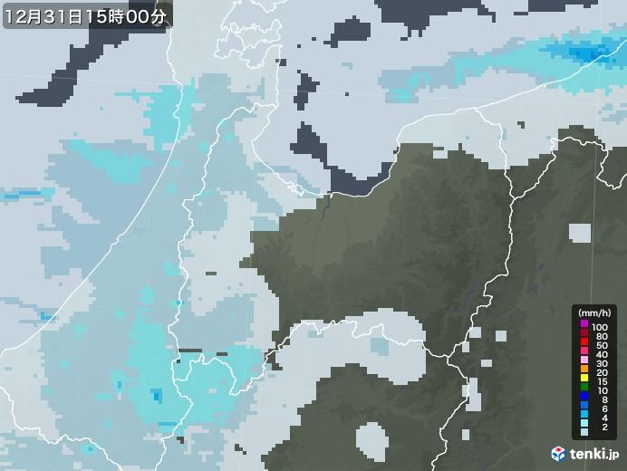 富山県の雨雲レーダー(2020年12月31日)