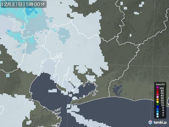 愛知県の雨雲レーダー(2020年12月31日)