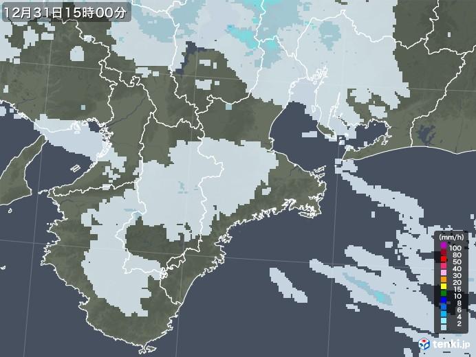 三重県の雨雲レーダー(2020年12月31日)