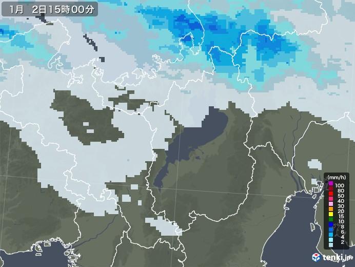 滋賀県の雨雲レーダー(2021年01月02日)