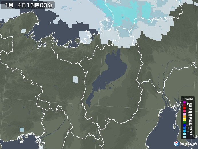 滋賀県の雨雲レーダー(2021年01月04日)