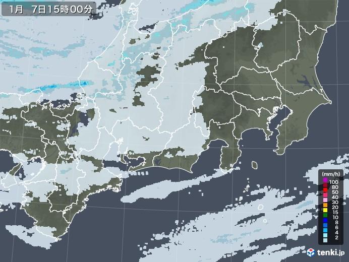 東海地方の雨雲レーダー(2021年01月07日)
