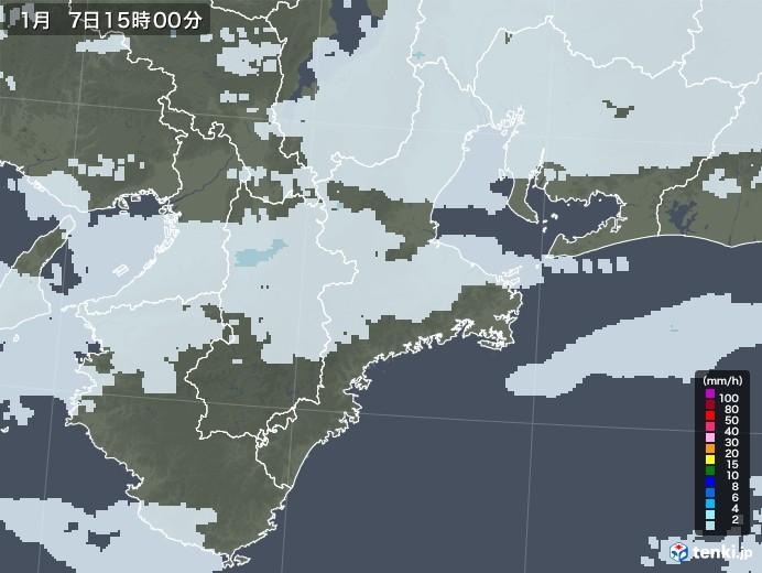 三重県の雨雲レーダー(2021年01月07日)
