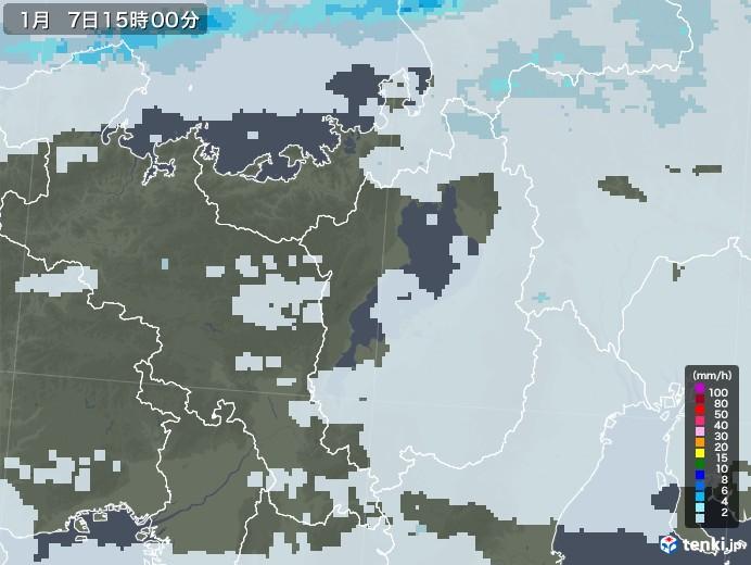 滋賀県の雨雲レーダー(2021年01月07日)