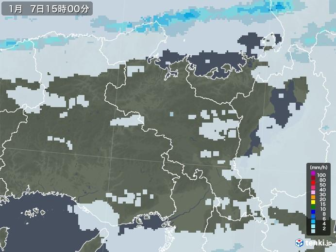京都府の雨雲レーダー(2021年01月07日)