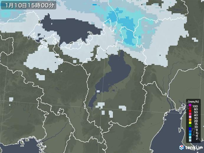 滋賀県の雨雲レーダー(2021年01月10日)