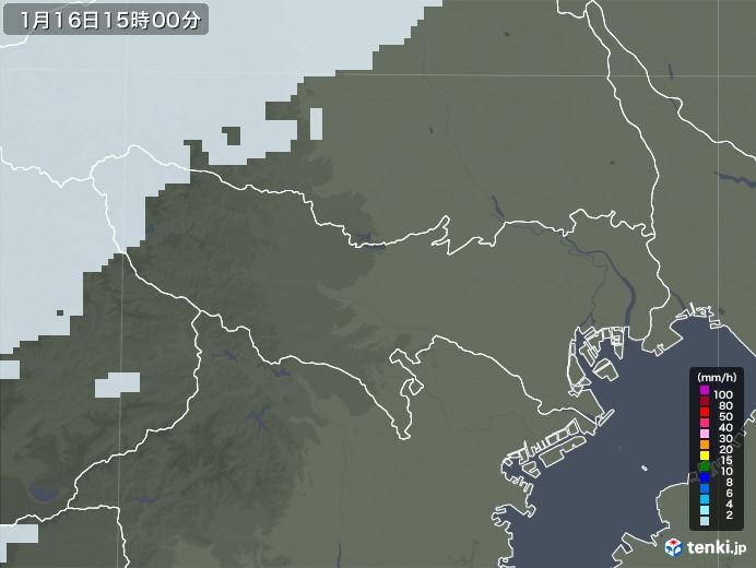 東京都の雨雲レーダー(2021年01月16日)
