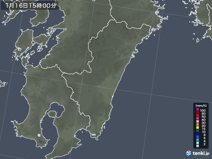 宮崎県の雨雲レーダー(2021年01月16日)