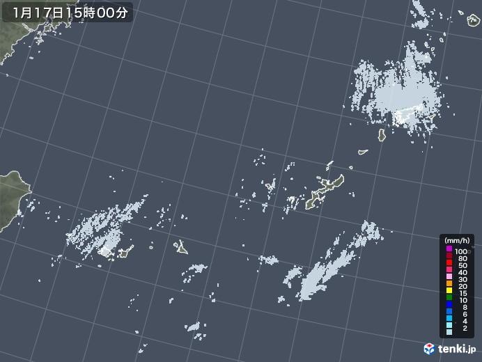 沖縄地方の雨雲レーダー(2021年01月17日)