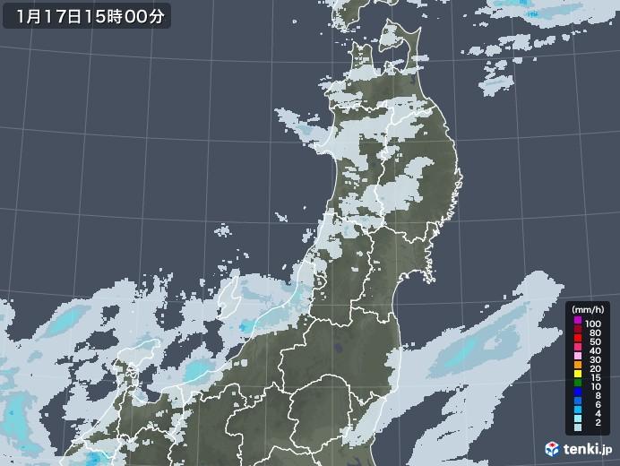 東北地方の雨雲レーダー(2021年01月17日)