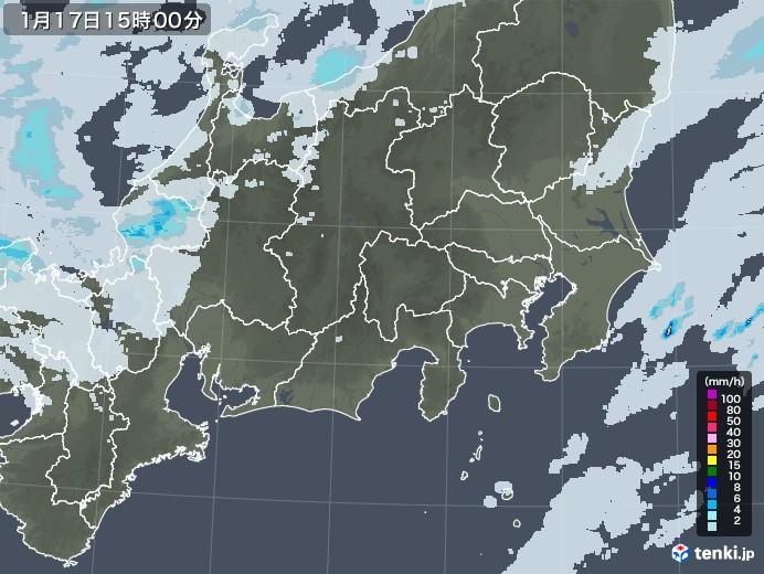 関東・甲信地方の雨雲レーダー(2021年01月17日)