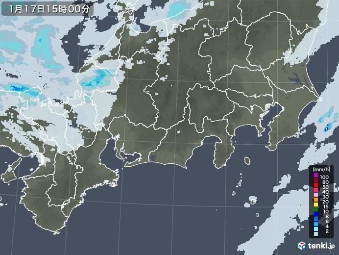 東海地方の雨雲レーダー(2021年01月17日)