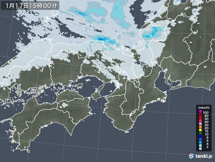 近畿地方の雨雲レーダー(2021年01月17日)