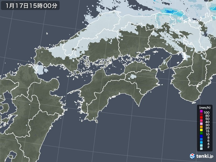 四国地方の雨雲レーダー(2021年01月17日)