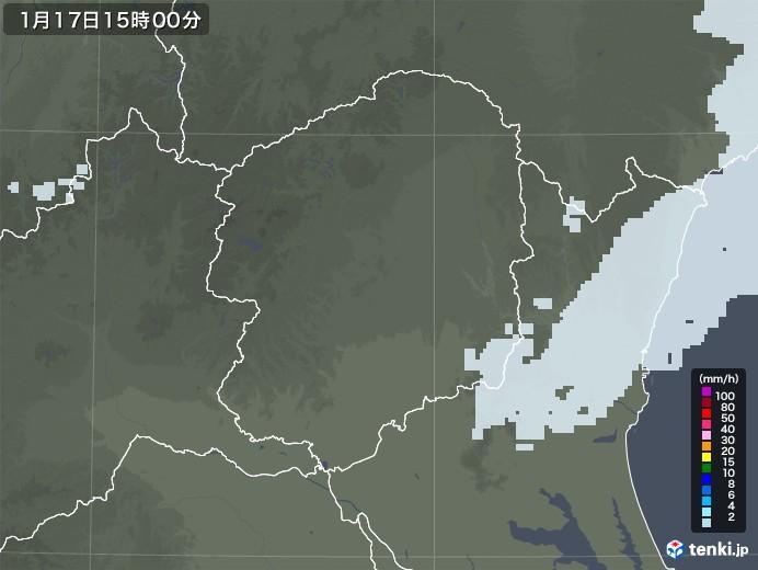 栃木県の雨雲レーダー(2021年01月17日)