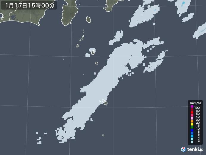 伊豆諸島(東京都)の雨雲レーダー(2021年01月17日)