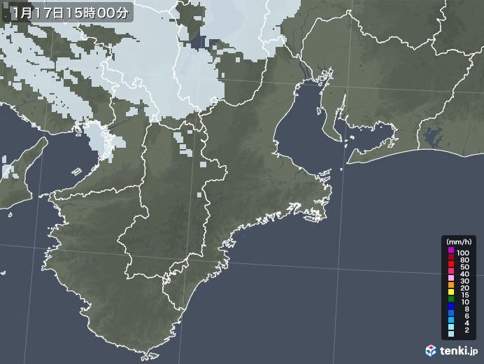 三重県の雨雲レーダー(2021年01月17日)