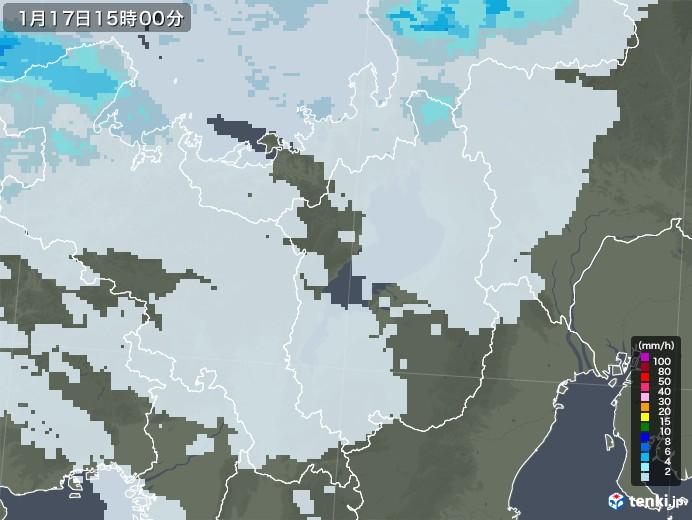 滋賀県の雨雲レーダー(2021年01月17日)