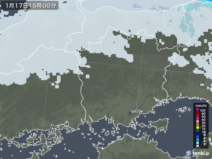 岡山県の雨雲レーダー(2021年01月17日)
