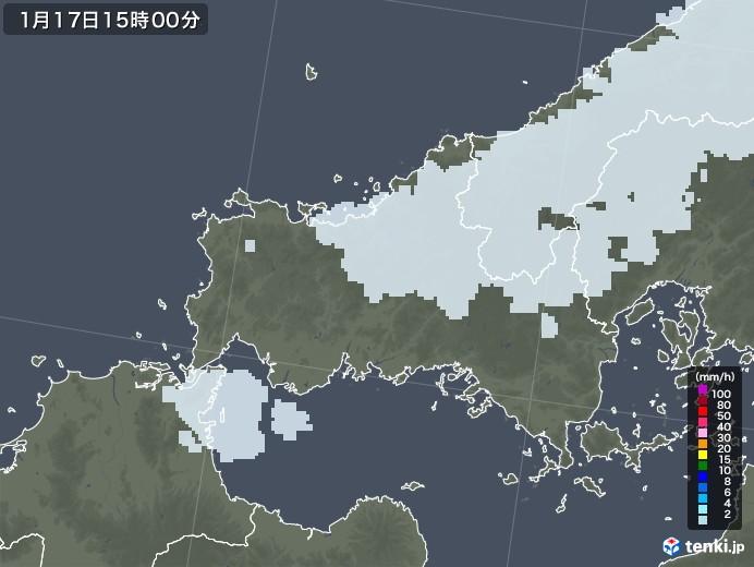 山口県の雨雲レーダー(2021年01月17日)