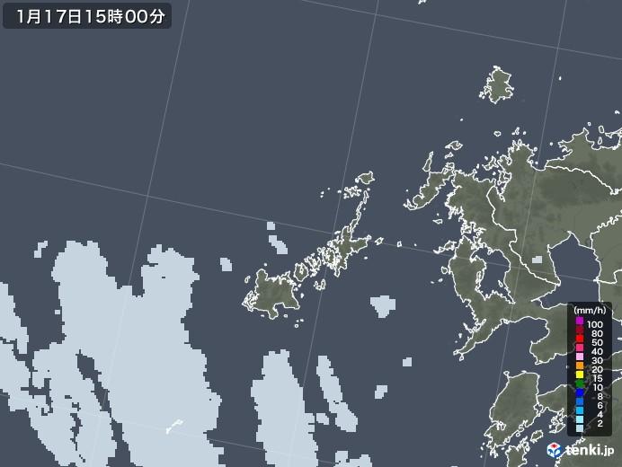 五島列島(長崎県)の雨雲レーダー(2021年01月17日)