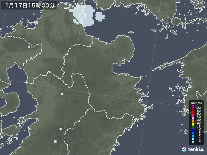 大分県の雨雲レーダー(2021年01月17日)