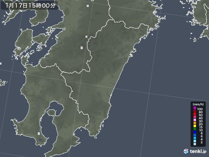 宮崎県の雨雲レーダー(2021年01月17日)