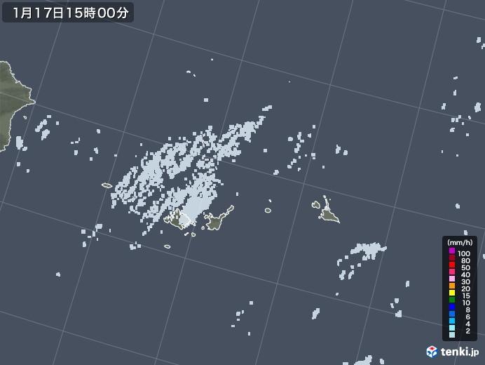 宮古・石垣・与那国(沖縄県)の雨雲レーダー(2021年01月17日)