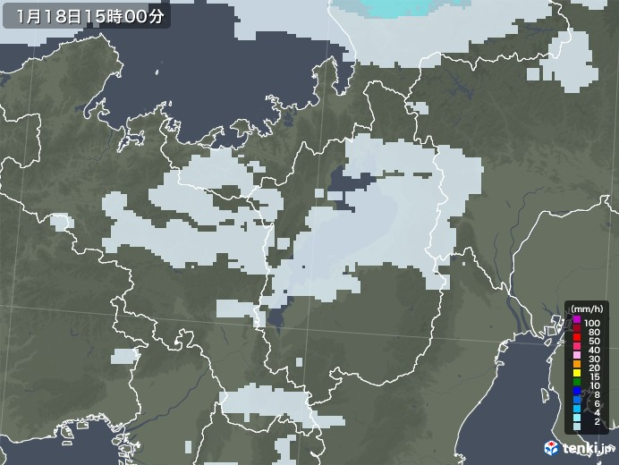 滋賀県の雨雲レーダー(2021年01月18日)