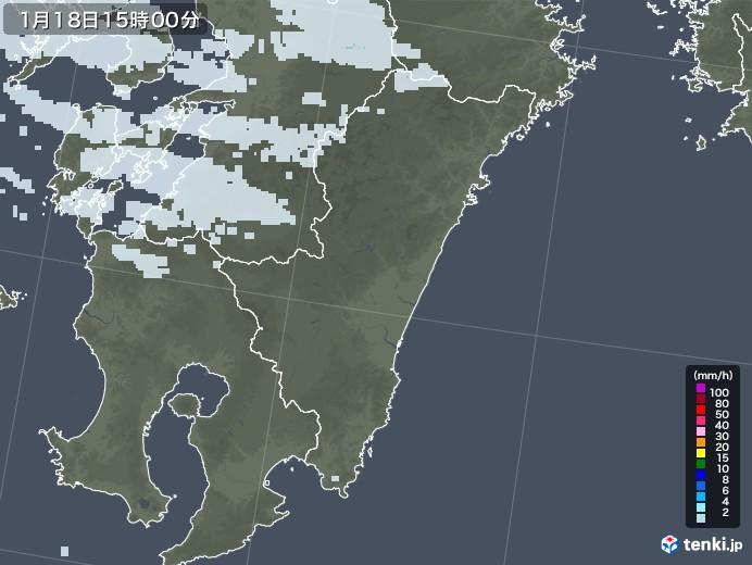 宮崎県の雨雲レーダー(2021年01月18日)