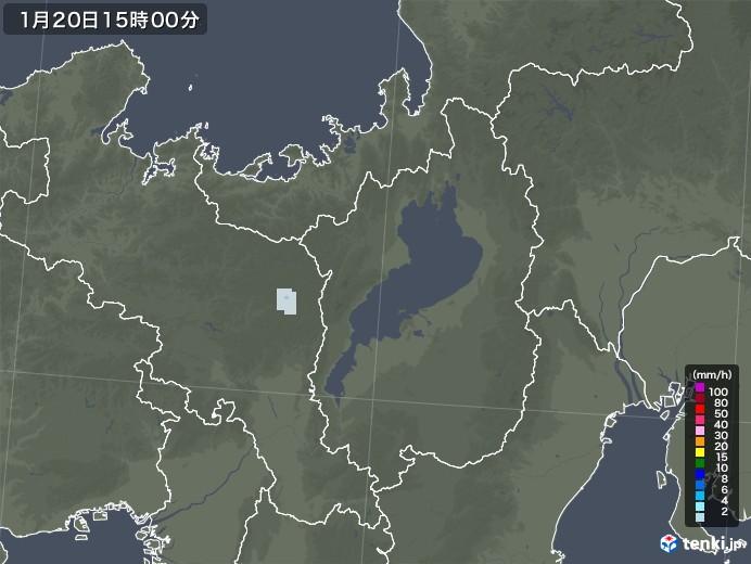 滋賀県の雨雲レーダー(2021年01月20日)