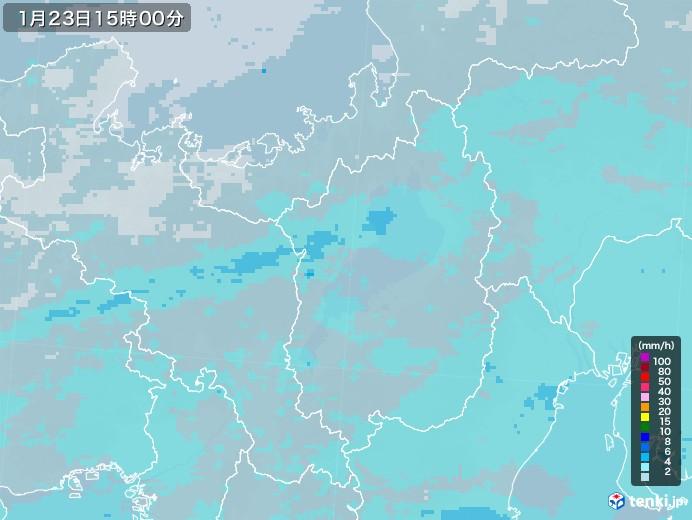 滋賀県の雨雲レーダー(2021年01月23日)