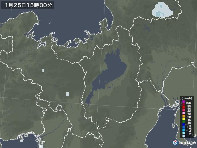 滋賀県の雨雲レーダー(2021年01月25日)
