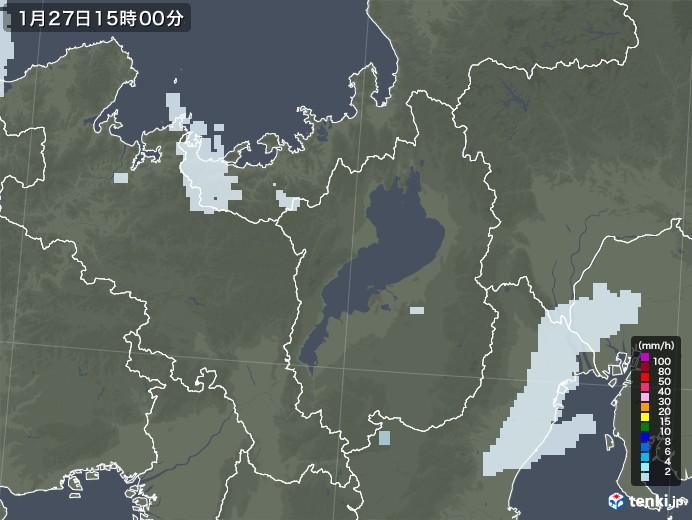 滋賀県の雨雲レーダー(2021年01月27日)
