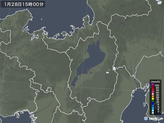 滋賀県の雨雲レーダー(2021年01月28日)