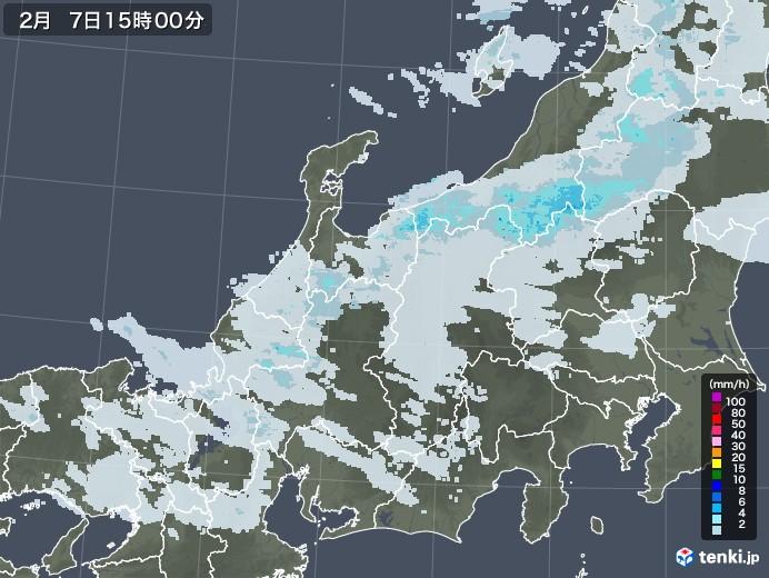北陸地方の雨雲レーダー(2021年02月07日)