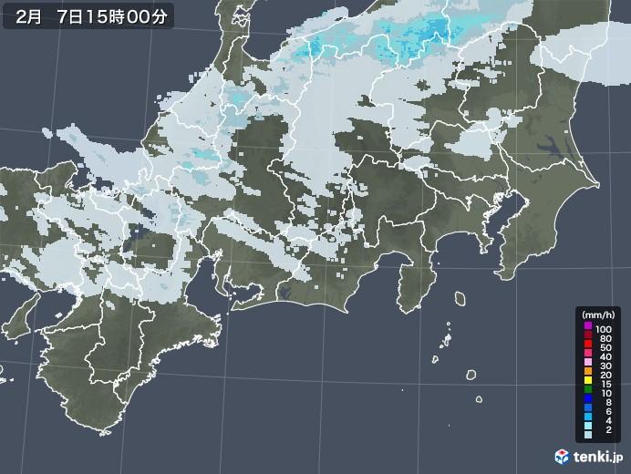 東海地方の雨雲レーダー(2021年02月07日)