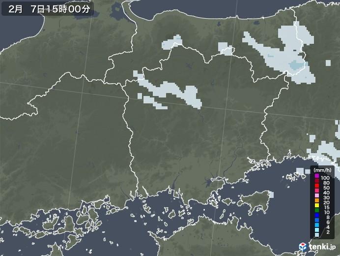 岡山県の雨雲レーダー(2021年02月07日)