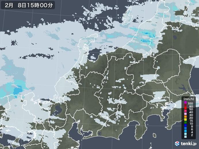 北陸地方の雨雲レーダー(2021年02月08日)