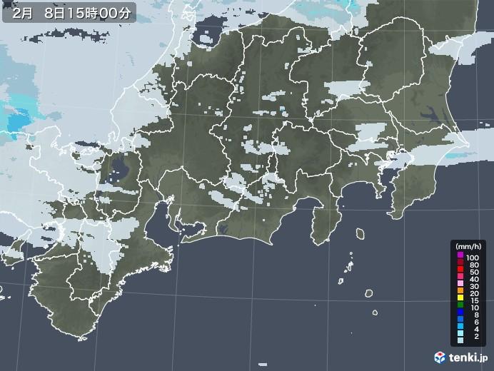 東海地方の雨雲レーダー(2021年02月08日)