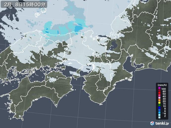 近畿地方の雨雲レーダー(2021年02月08日)