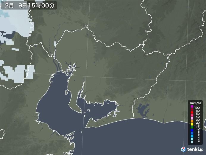 愛知県の雨雲レーダー(2021年02月09日)
