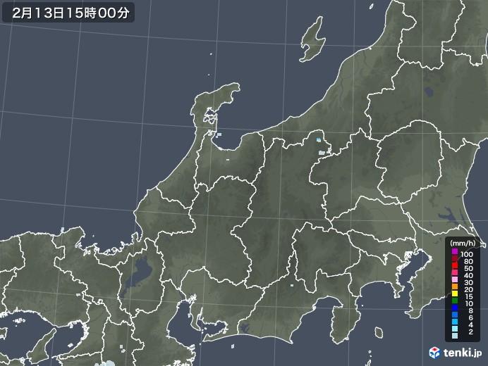 北陸地方の雨雲レーダー(2021年02月13日)