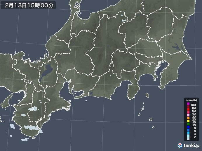 東海地方の雨雲レーダー(2021年02月13日)